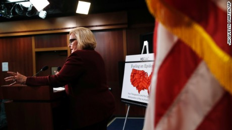 Sen. Claire McCaskill, D-Mo., announces findings from the investigation on Capitol Hill.