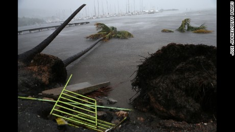 Debris is seen during a storm surge near the Puerto Chico Harbor during the passing of Hurricane Irma on September 6, 2017 in Fajardo, Puerto Rico. The category 5 storm is expected to pass over Puerto Rico and the Virgin Islands today, and make landfall in Florida by the weekend. (Photo by Jose Jimenez/Getty Images)