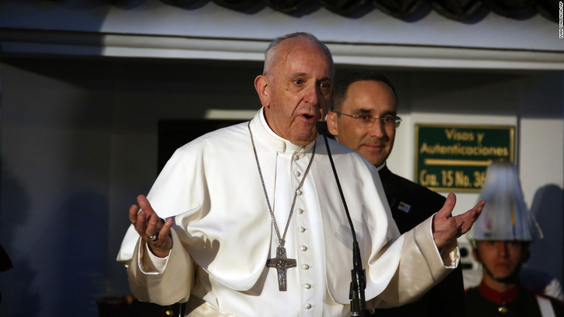 Francis addresses a welcoming ceremony as he arrives in Bogota on Wednesday, September 6.