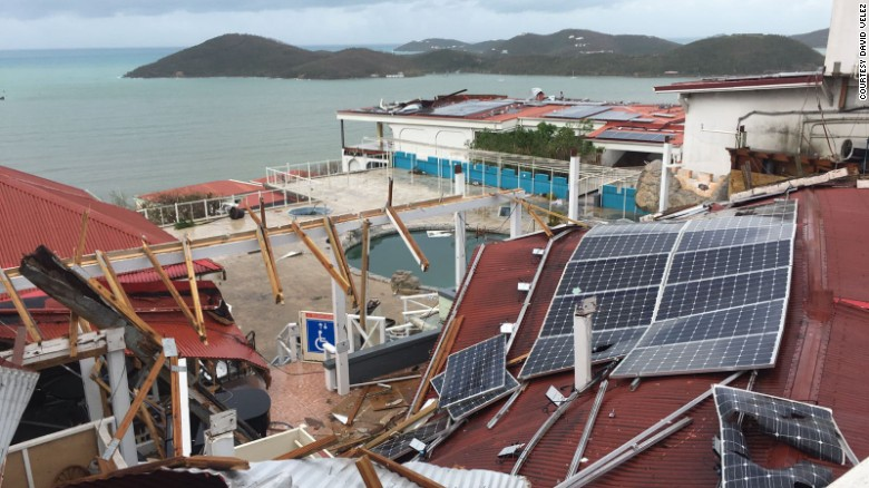 Wreckage in Irma's wake Wednesday on St. Thomas, a tourist destination in the US Virgin Islands.