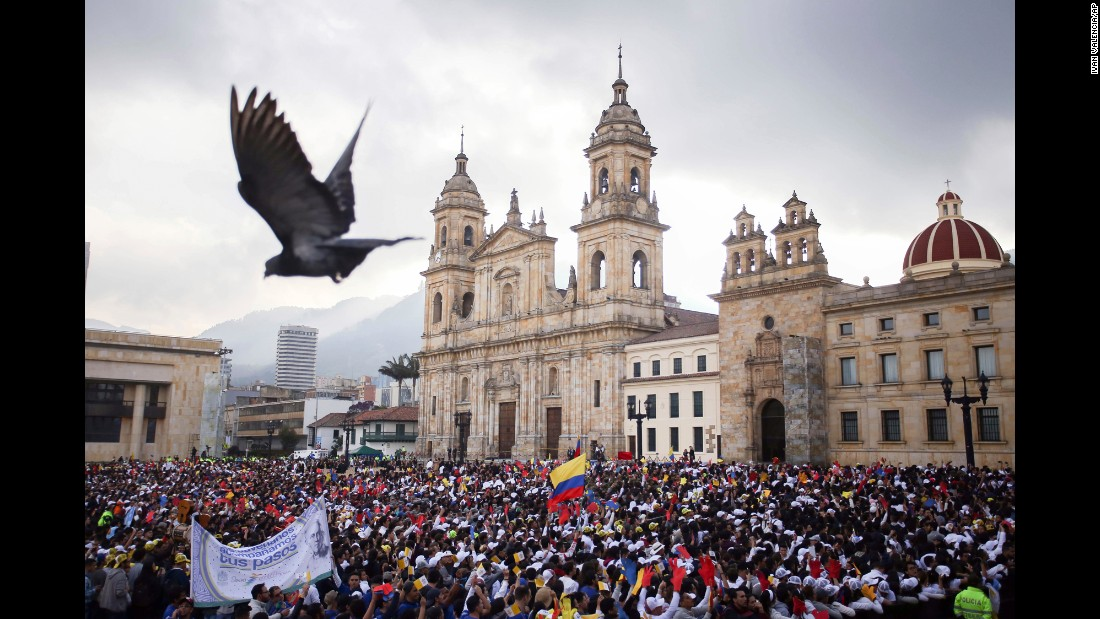 Crowds gather in Bogota's Bolivar Square as they wait for Pope Francis on September 7. The Pope and Vatican diplomacy have worked for several years to help Colombia achieve peace.