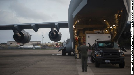 U.S. Air Force C-17 Globemaster III crewmembers from the 14th Airlift Squadron unload supplies during a hurricane relief mission to prepare Puerto Rico for Hurricane Irma at San Juan, Puerto Rico, September 6, 2017. Hurricane Irma is currently a category 5 hurricane and is capable of inflicting catastrophic damage. (U.S. Air Force photo by Staff Sgt Douglas Ellis)