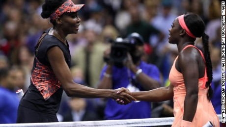 After the handshake with Williams, Stephens applauded the seven-time major champion as she left the court.