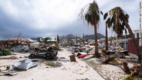 A photo taken on September 7, 2017 shows damage in Orient Bay on the French Carribean island of Saint-Martin, after the passage of Hurricane Irma.