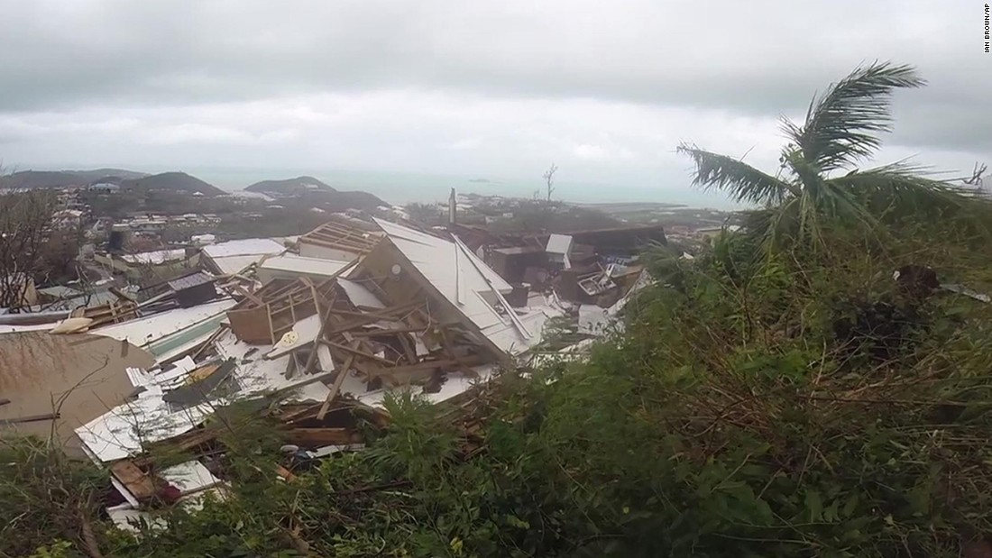 In this image made from video, damaged houses are seen in St. Thomas on September 7.