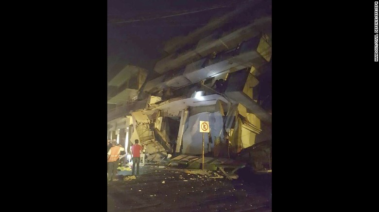 A handout photo made available by Mexican authorities shows a collapsed building in Matias Romero, in the state of Oaxaca, Mexico, early on Friday, September 8.