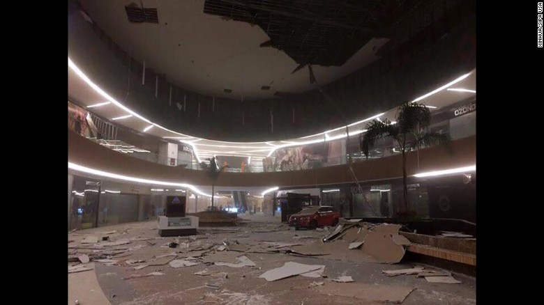 Damage is seen inside a mall in Tuxtla Gutierrez, Chiapas state, Mexico.