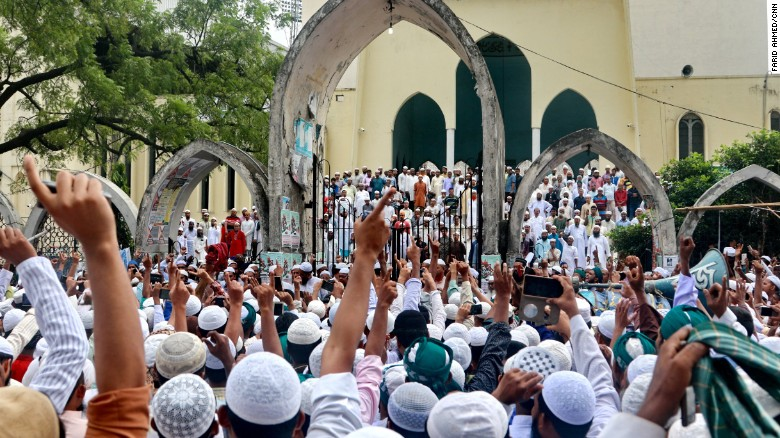 Activists from the group the Islamic Movement Bangladesh take part in a rally in Dhaka on September 8.