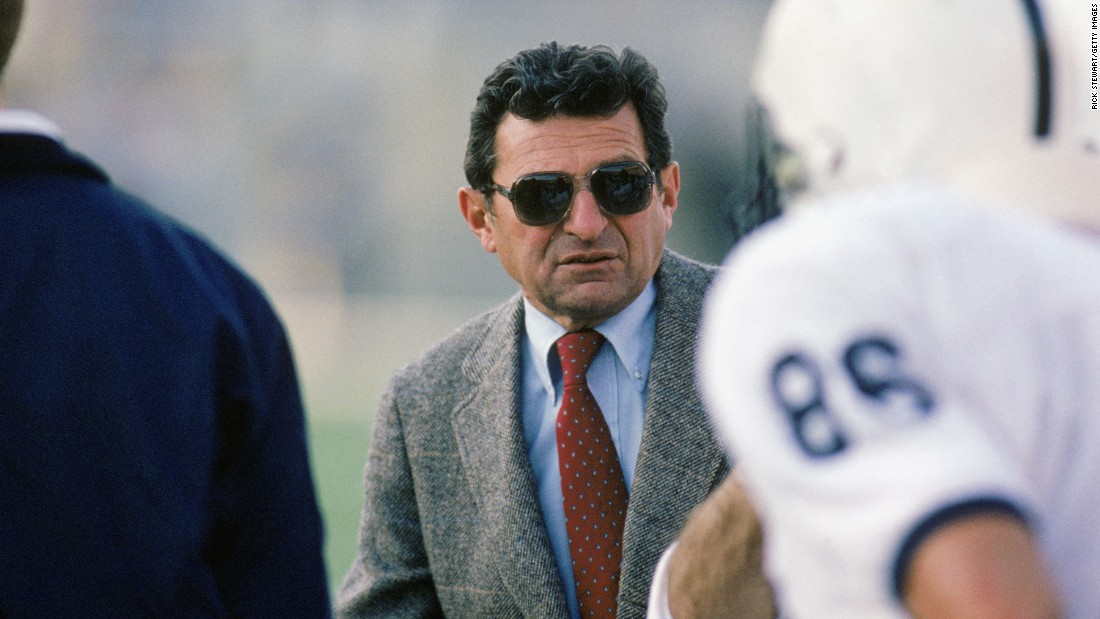 Former Penn State football coach Joe Paterno died in January 2012. He was 85. The legendary coach, seen here in 1988, was fired in November 2011 amid revelations that assistant coach Jerry Sandusky had sexually abused boys on the Penn State campus. Here's a look at Paterno's 46 years at the helm of the Nittany Lions football program.