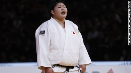 Japan Sarah Asahina reacts after defeating Japan Kanae Yamabe during +78 kgs final, on February 12, 2017 at the AccorHotels Arena in Paris, during the Judo Grand Slam Paris 2017.    / AFP / PATRICK KOVARIK        (Photo credit should read PATRICK KOVARIK/AFP/Getty Images)