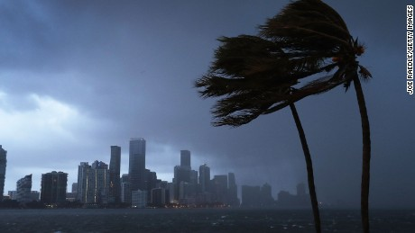 MIAMI, FL - SEPTEMBER 09:  The skyline is seen as the outerbands of Hurricane Irma start to reach Florida on September 9, 2017 in Miami, Florida. Florida is in the path of the Hurricane which may come ashore at category 4.  (Photo by Joe Raedle/Getty Images)