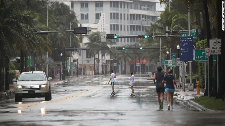 A nearly empty street is seen as outerbands of Hurricane Irma pass through on September 9, 2017 in Miami Beach, Florida.