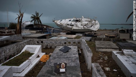 A sailboat rests in a cemetery after Irma tore through Marigot, St. Martin.