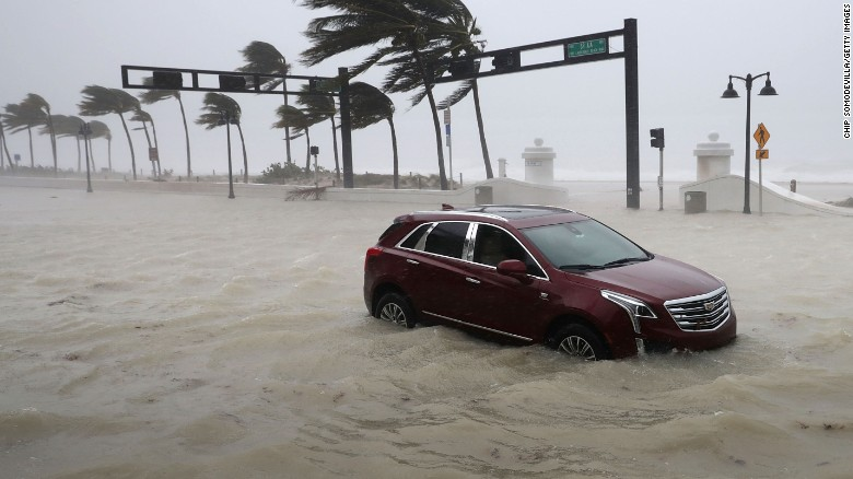 A car sits abandoned in storm surge as Hurricane Irma hits in Fort Lauderdale, Florida.