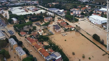 An aerial view from Sunday of the city of Leghorn, Italy, following floods.