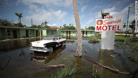 The Sunrise Motel remains flooded after Hurricane Irma hit the area in East Naples, Florida on September 11.