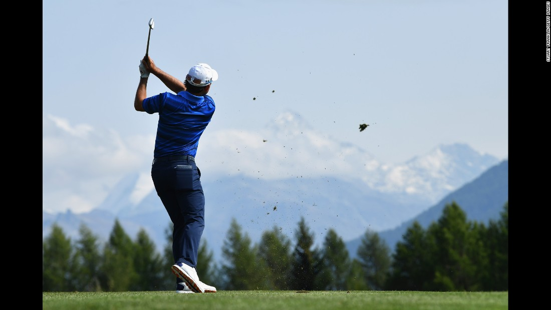 Fabrizio Zanotti plays a shot during the second round of the European Masters on Friday, September 8. The tournament was played in Crans-Montana, Switzerland.