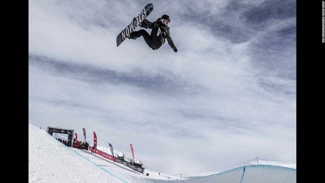 Japanese snowboarder Haruna Matsumoto performs on the halfpipe during the New Zealand Winter Games on Thursday, September 7.