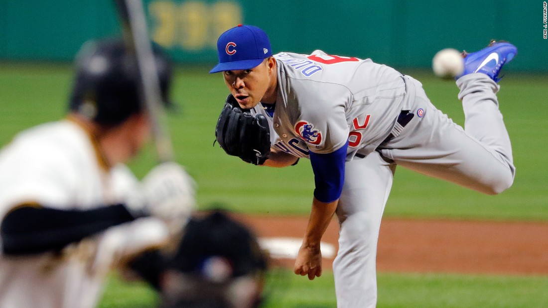 Chicago Cubs starter Jose Quintana delivers a pitch during a game in Pittsburgh on Wednesday, September 6. Quintana had six strikeouts over six shutout innings, and the Cubs went on to win 1-0.