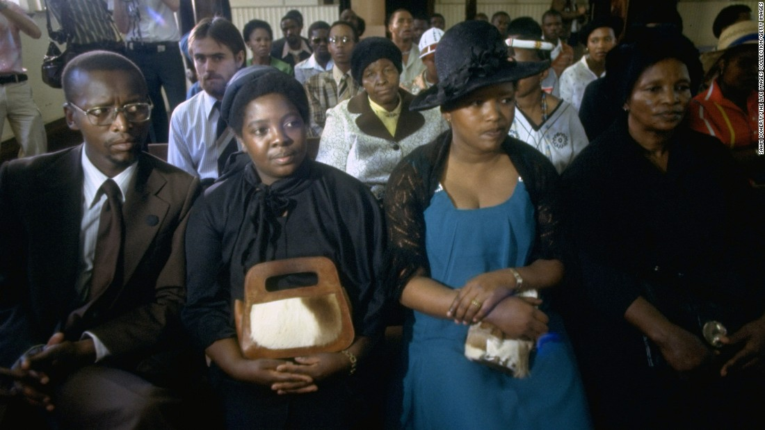 Nontsikelelo Ntsikie Biko, Steve Biko's wife (second right) sits with Biko's mother (right), brother and sister at the inquest into the civil rights activist's death.