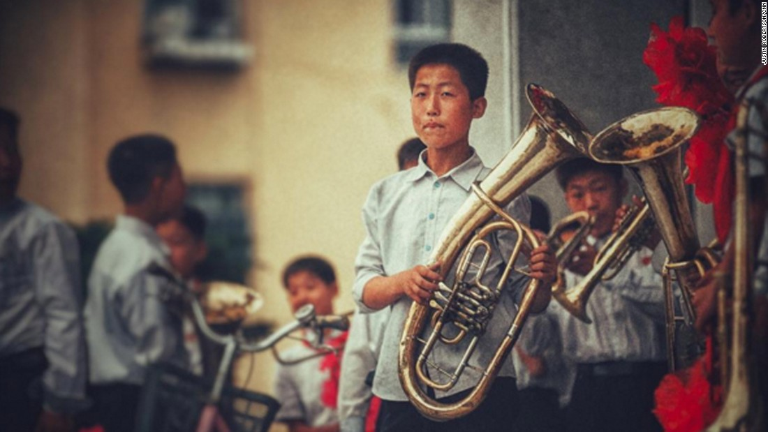 A young North Korean musician in the border town of Kaesong, taken on September 4. Music is a huge part of life in North Korea.