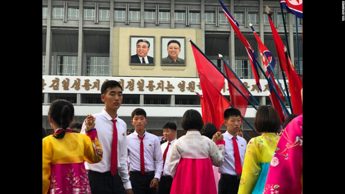Participation in mass celebrations is mandatory for those privileged citizens allowed to live in the capital, Pyongyang. Taken on September 9.