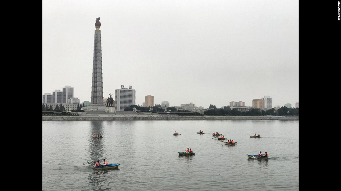 Sunday afternoon row boats on the Taedong River, Pyongyang, beside Juche Tower. Taken on September 10.