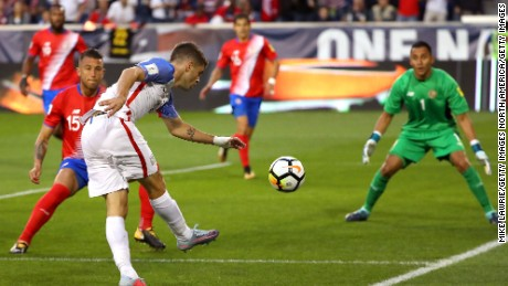 Christian Pulisic fires in a shot in the World Cup qualifier against Costa Rica.