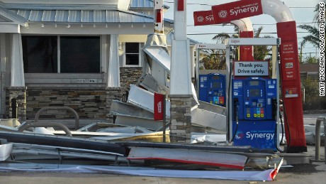 KEY WEST, FL - SEPTEMBER 11:  Debris lies on the ground of a gas station in the aftermath of Hurricane Irma  on September 11, 2017 in Key West, Florida. (Photo by Matt McClain-Pool/Getty Images)
