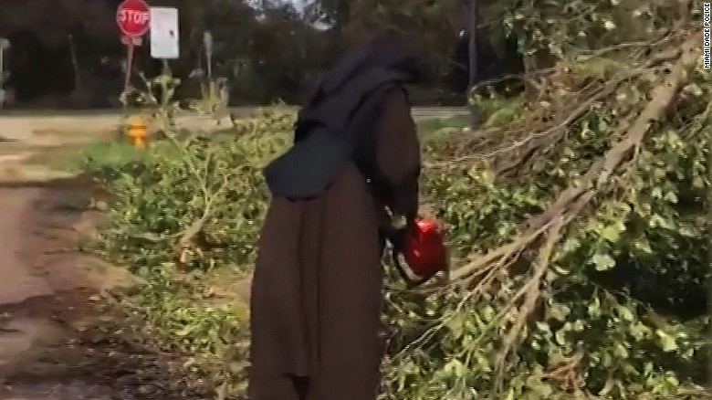 Nun With a Chainsaw Gets to Work on Hurricane Irma Clean-up