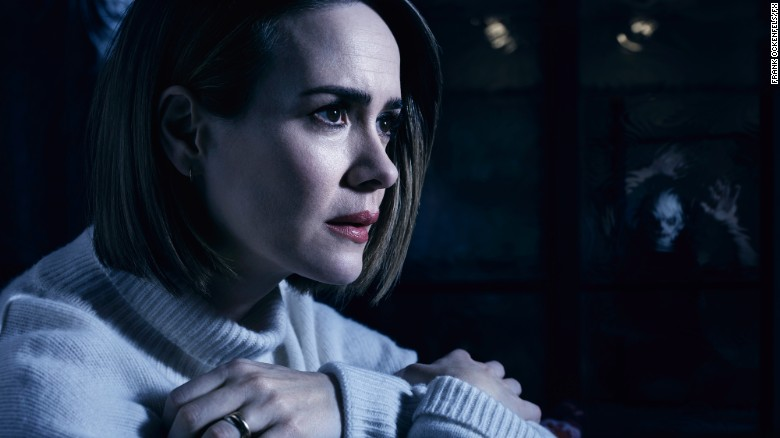 "Sarah Paulson stars in ""American Horror Story: Cult."" Promotions for the show are triggering people with trypophobia."