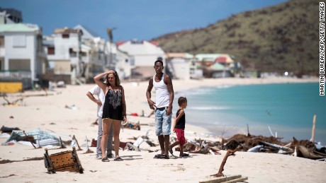 People inspect the damage to the  Grand-Case Bay beach on St. Martin on Tuesday.