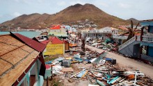 This general view shows buildings destroyed by Hurricane Irma on the French Caribbean island of Saint Martin on September 12, 2017, during the visit of France's President Emmanuel Macron .  French President Emmanuel Macron and British Foreign Secretary Boris Johnson travelled Tuesday to the hurricane-hit Caribbean, rebuffing criticism over the relief efforts as European countries boost aid to their devastated island territories. / AFP PHOTO / POOL / Christophe Ena        (Photo credit should read CHRISTOPHE ENA/AFP/Getty Images)