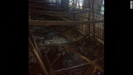 Melted bunk beds inside the second floor of the Kuala Lumpur religious school which caught fire on Thursday morning.