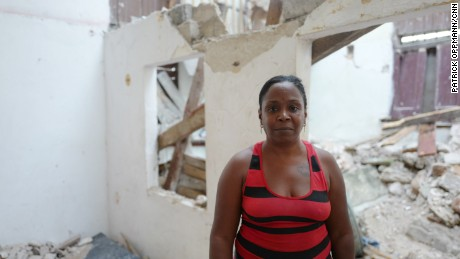 Litza Peñalver Sierra on Wednesday, amid the rubble of an  apartment where two brothers died after Hurricane Irma caused their ceiling to cave in on them.