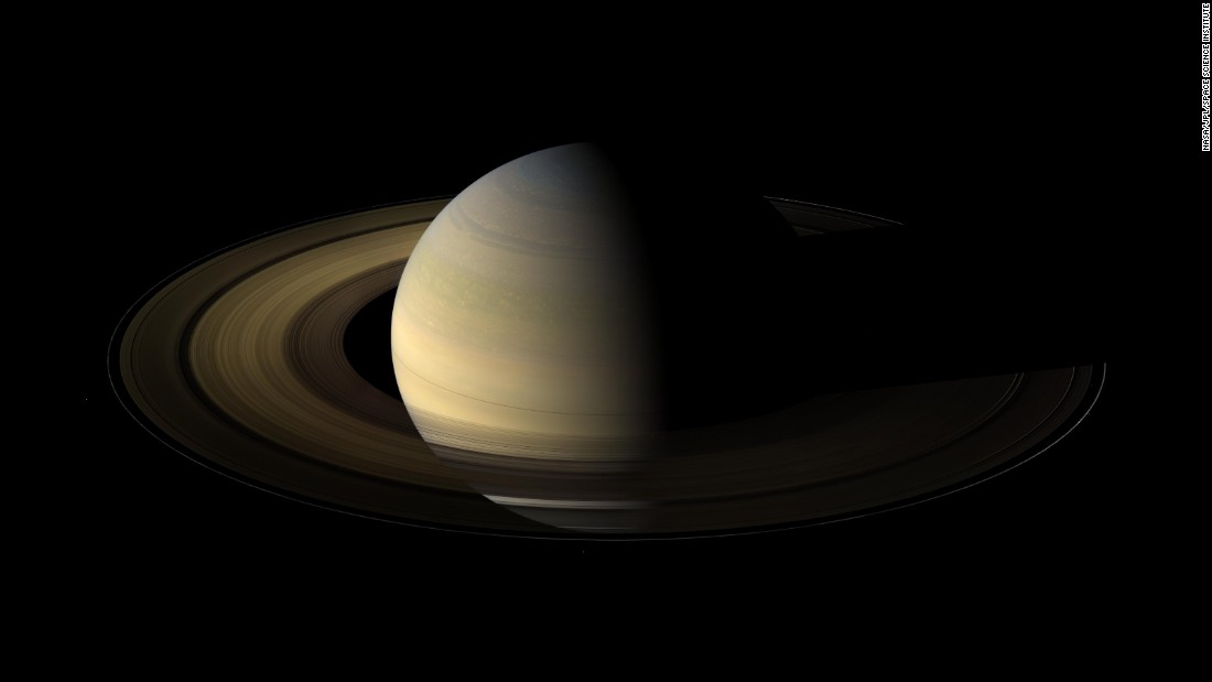 Springtime on Saturn: Cassini's wide angle camera shot 75 images showing Saturn, its rings, and some of its moons just after the Spring equinox. An equinox occurs when the sun's disk is exactly over a planet's equator. It takes 30 years for Saturn to orbit the sun, so an equinox occurs every 15 Earth years, NASA says. These images were taken on August 12, 2009, a little more than a day after the exact equinox.