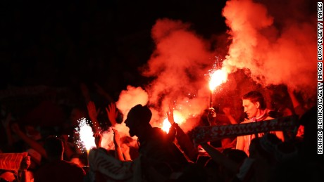 LONDON, ENGLAND - SEPTEMBER 14:  FC Koln Fans let of flares after Jhon Cordoba of FC Koeln scored the first goal during the UEFA Europa League group H match between Arsenal FC and 1. FC Koeln at Emirates Stadium on September 14, 2017 in London, United Kingdom.  (Photo by Richard Heathcote/Getty Images)