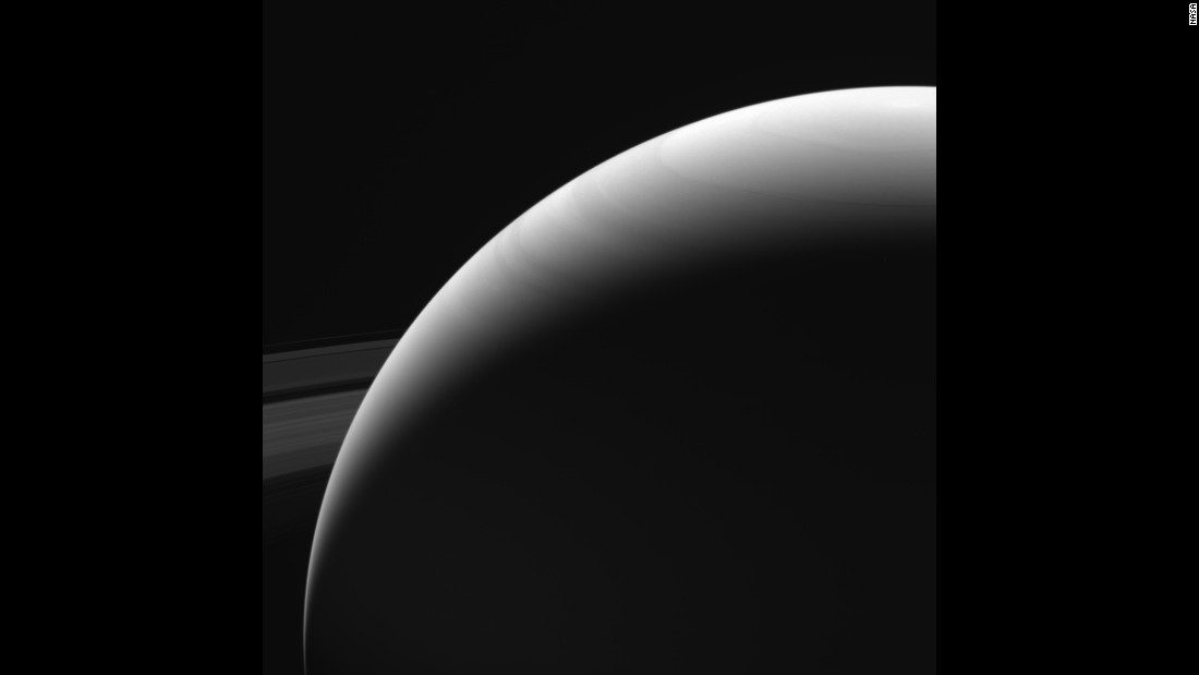 Cassini captured this image of Saturn's northern hemisphere on September 13, 2017. It is among the last images Cassini sent back to Earth.