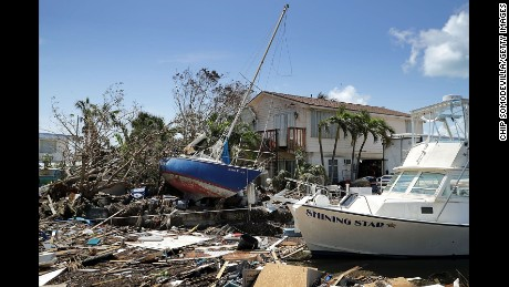 MARATHON, FL - SEPTEMBER 12:  Boats, cars and other debris clog waterways in the Florida Keys two days after Hurricane Irma slammed into the state September 12, 2017 in Marathon, Florida. The Federal Emergency Managment Agency has reported that 25-percent of all homes in the Florida Keys were destroyed and 65-percent sustained major damage when they took a direct hit from Hurricane Irma.  (Photo by Chip Somodevilla/Getty Images)
