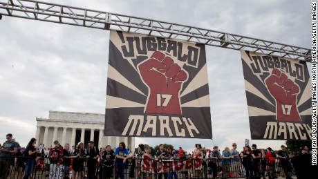 People gather for the Juggalo rally on the National Mall in Washington on Saturday.