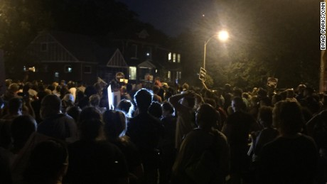 A few hundred protesters marched in St. Louis streets Saturday night.
