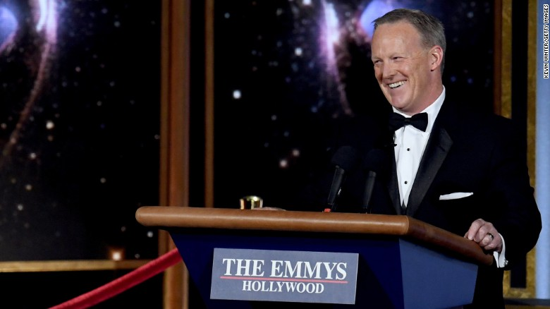 Former White House Press Secretary Sean Spicer speaks onstage during the 69th Annual Primetime Emmy Awards at Microsoft Theater on September 17, 2017 in Los Angeles, California.