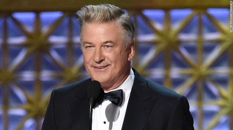 "Alec Baldwin accepts the award for outstanding supporting actor in a comedy series for ""Saturday Night Live"" at the 69th Primetime Emmy Awards on Sunday, Sept. 17, 2017, at the Microsoft Theater in Los Angeles."