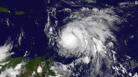 This Sunday, Sept. 17, 2017, GOES East satellite image provided by NASA taken at 7:45 p.m EDT, shows Hurricane Maria as it approaches the Lesser Antilles. Maria swiftly grew into a hurricane Sunday, and forecasters said it was expected to become much stronger over the coming hours following a path that would take it near many of the islands wrecked by Hurricane Irma and then on toward Puerto Rico, the Dominican Republic and Haiti. (NASA via AP)