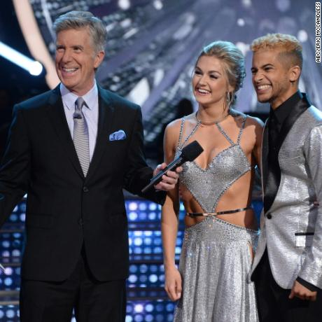 "Tom Bergeron, Lindsay Arnold and Jordan Fisher in the season premiere of ""Dancing With the Stars."""