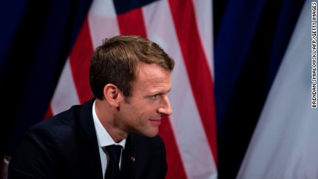 France's President Emmanuel Macron listens to US President Donald Trump before a meeting at the Palace Hotel during the 72nd session of the United Nations General Assembly September 18, 2017, in New York. / AFP PHOTO / Brendan Smialowski        (Photo credit should read BRENDAN SMIALOWSKI/AFP/Getty Images)