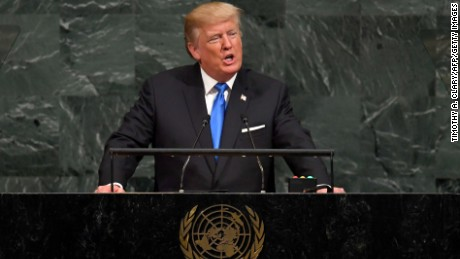 US President Donald Trump addresses the 72nd Annual UN General Assembly in New York on September 19, 2017. / AFP PHOTO / TIMOTHY A. CLARY        (Photo credit should read TIMOTHY A. CLARY/AFP/Getty Images)