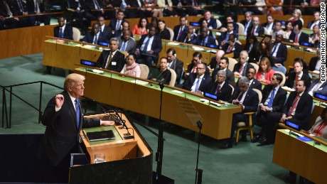 United States President Donald Trump addresses the United Nations General Assembly, in New York, on September 19, 2017. (Photo by Anthony Behar/Sipa USA)(Sipa via AP Images)