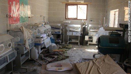 A picture taken on September 19, 2017 shows baby incubators at a neonatal intensive care unit (NICU), covered in rubble and debris following a reported air strike by Syrian government forces in the village of Al-Tahh, in the northwestern Idlib province. / AFP PHOTO / Omar haj kadour        (Photo credit should read OMAR HAJ KADOUR/AFP/Getty Images)