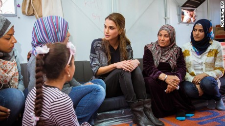 Queen Rania with Syrian refugees at the Kara Tepe Refugee Camp in Lesbos, Greece -- April 25, 2016